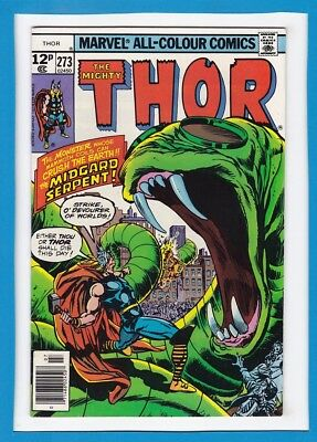 """Mighty Thor #273_July 1978_Very Fine_""""the Midgard Serpent""""_Bronze Age Marvel Uk!"""