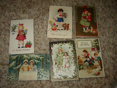 VINTAGE CHRISTMAS POSTCARDS large lot of 18 children boys girls