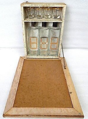 Vintage Hidden Hideaway Picture Frame In Wall Mounted Bar Set Liquor Cabinet