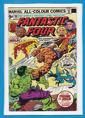 "FANTASTIC FOUR #166_JANUARY 1976_VF MINUS_""THING Vs HULK""_BRONZE AGE MARVEL!"