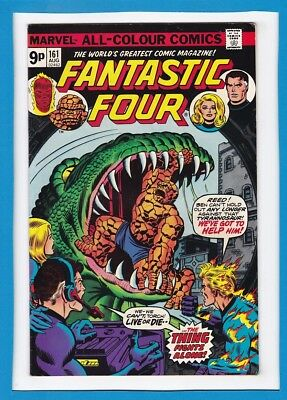 "Fantastic Four #161_August 1975_Very Fine Minus_""the Thing Fights Alone""_Uk!"