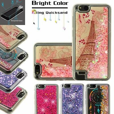 FOR ZTE ZFIVE G/Avid 4/Fanfare 3+TEMPERED GLASS Case Quicksand Liquid  Glitter