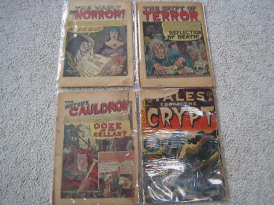 Vintage low grade coverless E.C. horror comic lot 4 comics Tales From the Crypt