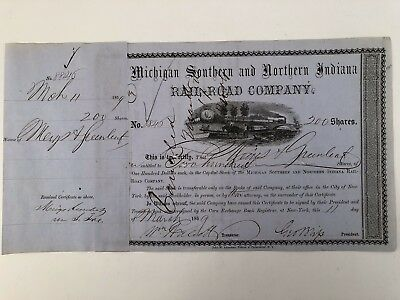 1859 Michigan Southern and Northern Indiana Rail Road Co Stock Certificate