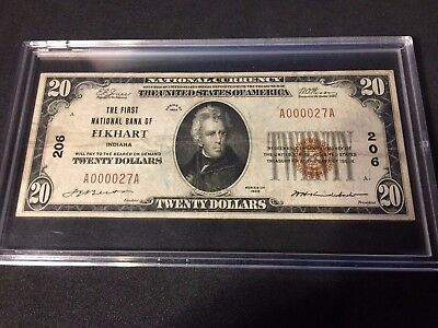 ELKHART, IN - $20 1929 TY 1 # 206  Serial # A000027A KELLY - 101 KNOWN