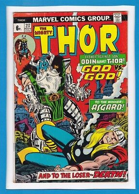 """Mighty Thor #217_November 1973_Very Good+_""""odin Against Thor....for Asgard""""_Uk!"""
