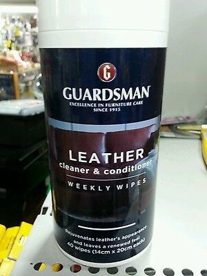Leather cleaning weekly wipes pk of 40 Guardsman cleaner wipe lounge car etc