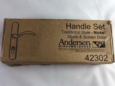 Andersen Doors Handle Set Traditional Style Nickel Storm & Screen Door 42302