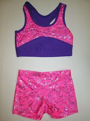NEW Crop Bra Top Shorts Set Size 10 MC LC Child Lot Dance Gymnastics Leotard