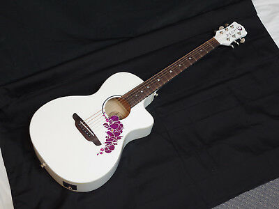 LUNA Flora Orchid acoustic electric GUITAR new White - Purple Flower Inlay - B