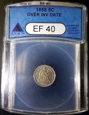 1858 over INVERTED DATE in ANACS EF 40 slab! RARE!!  All auctions start at $.99!