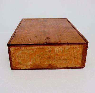Vtg Wooden Finger Jointed Slide Top Candy Box w/Hub Chocolate Bars Paper Label