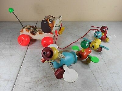 Vintage Fisher Price Wood Pull Toys Snoopy ,Momma Duck & Babies Lot in Nice Cond