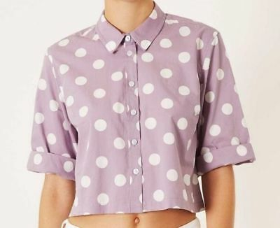 Lovely Topshop ladies girls blouse lilac white polka dot NEW Size 8,10, NEW