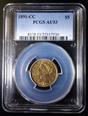1891 CC BRANCH MINT LIBERTY $5 PCGS AU58!  Rare gold coins starting at $.99!!