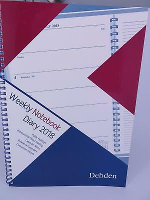 Debden 2018 A4 Weekly Notebook With Notes Week To View Red/Blue 62.P15-18 ^