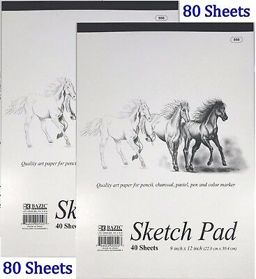 "2 High Quality Premium Sketch Book Drawing Paper Pad 80 Sheets 9"" x 12"""