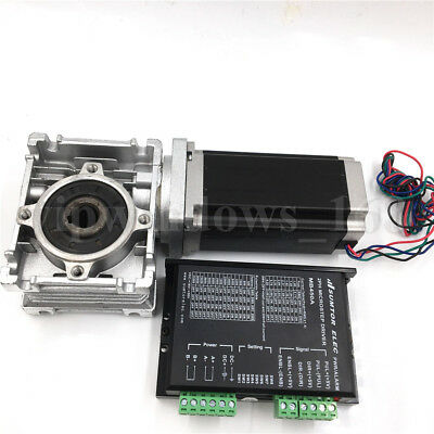 Nema23 1.1Nm Stepper Motor Driver L56mm &Worm Gearbox Speed Reducer Single Axis