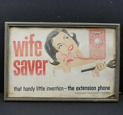 "Wisconsin Telephone Company Rotary Phone Advertising Sign 10""x7"" Vtg Wife Saver"