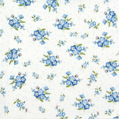 4x Paper Napkins - Forget me not - for Party, Decoupage Craft