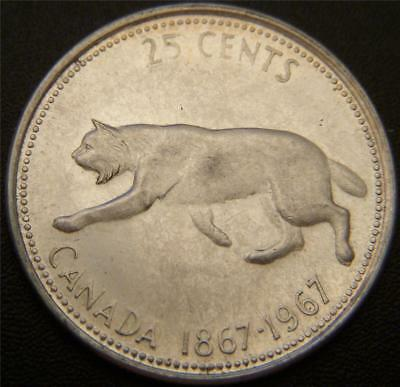 1967 Canadian Silver Quarter - Lynx Centennial Quarter - Has Been Circulated
