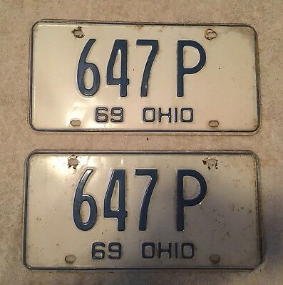 Good Solid Pair Of 1969 Ohio License Plate Auto Car Tag Lot Of 2