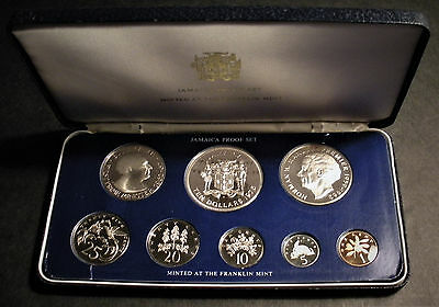 1975 Jamaica Proof 8-Coin Set incl 2 Silver Coins w Case & COA - Franklin Mint