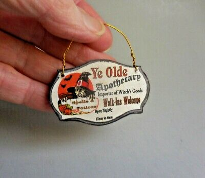 Dollhouse Miniature ~ Halloween ~ Witch Apothecary Hanging Sign Board