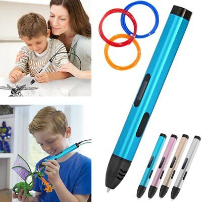AU 3D Printing Pen OLED Crafting Modeling Tool Drawing Art + 3 Filament