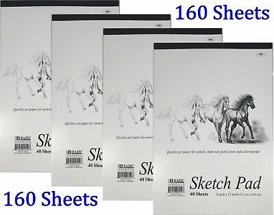 "4 High Quality Premium Sketch Book Drawing Paper Pad 160 Sheets 9"" x 12"""