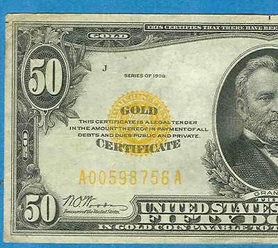 $50. 1928 Gold Seal Gold Certificate Attractive  Choice Very Fine