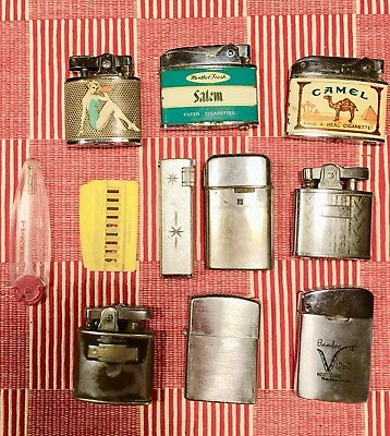 Lot Of 9 Vintage Cigarette Lighters Advertising pin-up Bamboo Viper Ronson