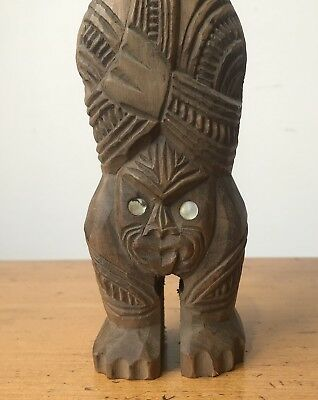 Vintage Carved Wooden Maori Tiki Tribal Figurine New Zealand Pacific