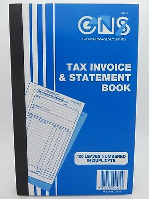 20 x Tax Invoice & Statement Book GNS 624 Dup 200x125mm 100/Sets Numbered 00572^