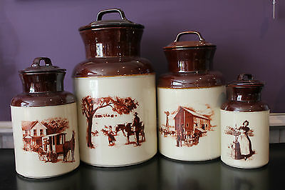 Vintage Mccoy Usa Dairy Scenes Canister Set Of 4 With Lids