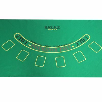 "Blackjack 24""x 36"" Layout Table Top Green Mat Portable Cover Felt Holdem Poker"