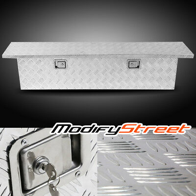 "60"" Silver Aluminum Truck Bed Underbody Tool Box Trailer RV Tool Storage w/Lock"