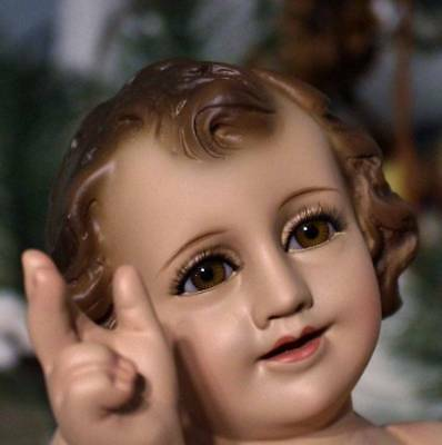 Baby Jesus Movable Arms for Nativity Set 9 inches Brown Glass Eyes and Lashes