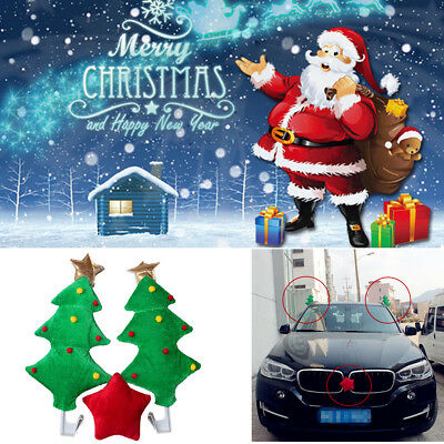 Funny Cute Christmas Tree +Red Star For Car SUV Decoration Holiday Creative Gift