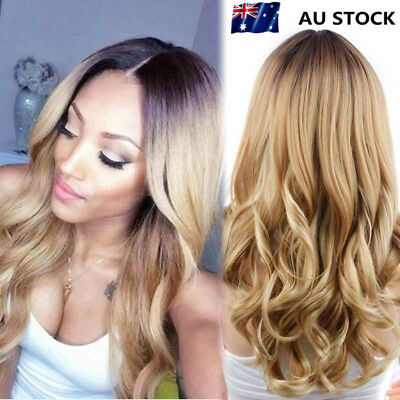 Women Natural Curly Blonde Hairstyle Lace Hair Central Parting Full Wigs Cospaly
