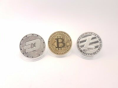 Gold Plated Bitcoin. Silver Plated Litecoin+Dash. Novelty Coin Set.