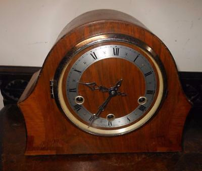 walnut cased  westminster chimes mantel clock