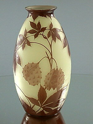ANTIQUE ART NOUVEAU ART DECO ART GLASS VASE CAMEO C a LOETZ BOHEMIA CZECH 1910s