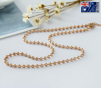 "New 18K Rose Gold Filled 3mm Ball Beads Chain Necklace For Pendant 18"" - 28"""