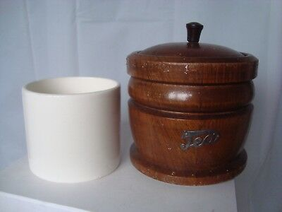 Vintage tea caddy wood with ceramic liner kitchenalia treen made in England