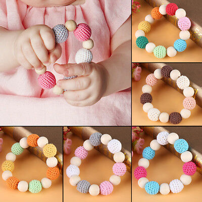 Handmade Natural Wooden Crochet Beads Ring Baby Teether Teething Toy Shower Gift