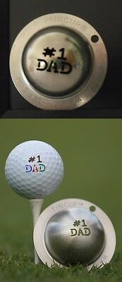 1 only TIN CUP GOLF BALL MARKER - # 1 DAD  - EASY TO DO