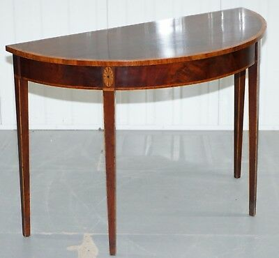 Rare Circa 1780 George Iii Figured Mahogany & Satinwood Banded Console Table