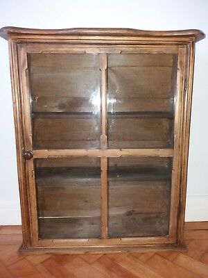 vintage pine glass fronted display cabinet