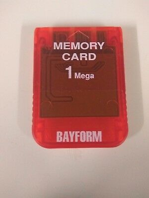 Clear Red Bayform Memory Card Sony PS1 PSX PlayStation 1 1MB 15 Blocks Fast Post